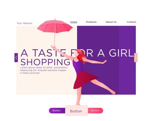 Página de destino. saltar mujer sosteniendo un paraguas