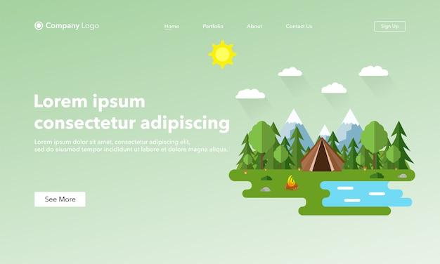 Página de destino del sitio web de asbtract. paisaje de verano en estilo plano.