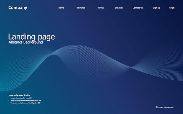 Página de destino del sitio web, fondo de onda, línea, degradado, abstracto y moderno
