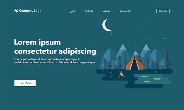 Página de destino del sitio web. paisaje nocturno en estilo plano.
