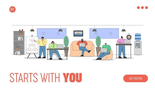 Página de destino del sitio web. proceso de trabajo en el espacio de coworking en la oficina creativa.
