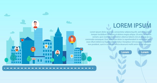 Página de destino con smart city y comunidad de personas
