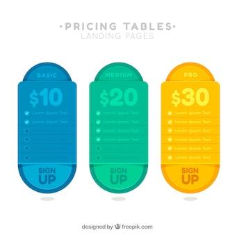 Página de destino con tablas de precios