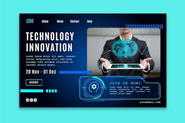 Página de destino con tecnología futurista.