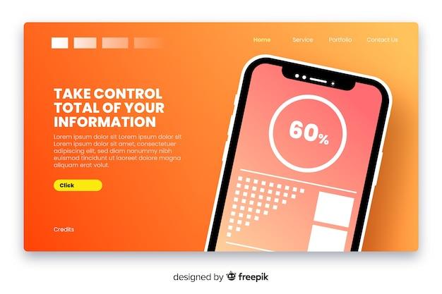Página de destino con teléfono inteligente en diseño plano