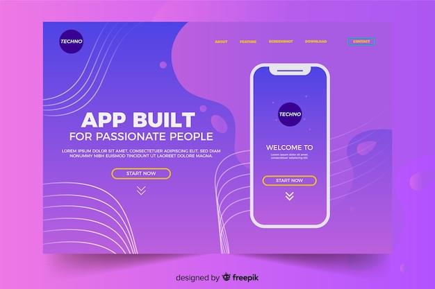 Página de destino con teléfono inteligente en tonos violeta líquido