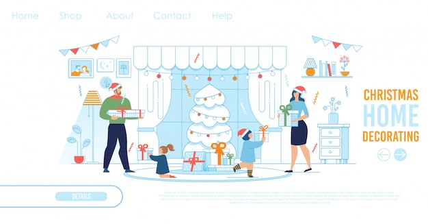 La página de destino para la tienda ofrece decoración y regalos de navidad