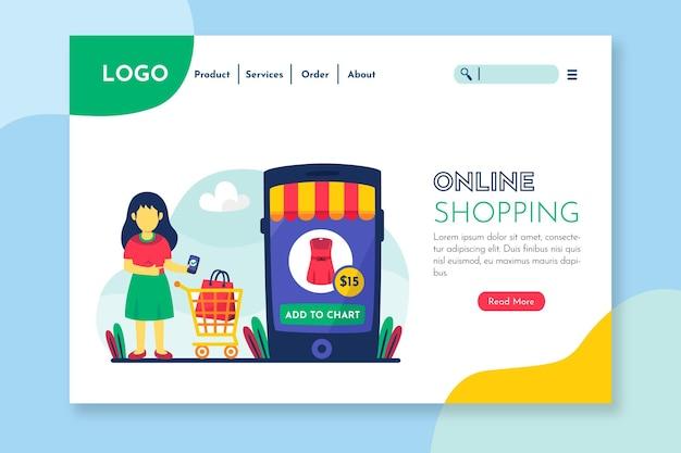 Página de destino para tiendas y productos en línea.