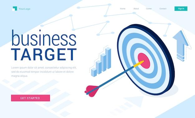 Página de destino del vector del objetivo empresarial