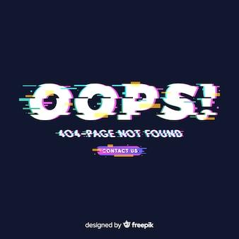 Página de error 404 con fallo técnico