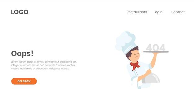 Página de error 404 y negocio de comida.