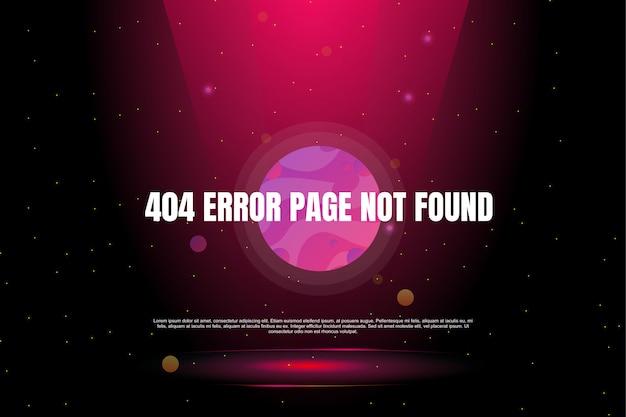 Página de error 404 no encontrada en el banner de galaxia