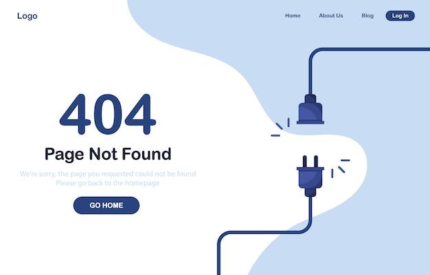 Página de error 404 no encontrada web. error del sistema, página rota. cables desconectados de la toma de corriente. cable y enchufe. plantilla web azul