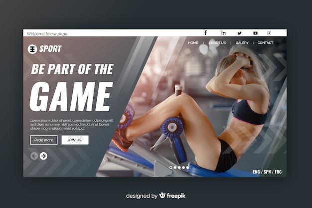 Página gris de aterrizaje deportivo con fotos y formas geométricas