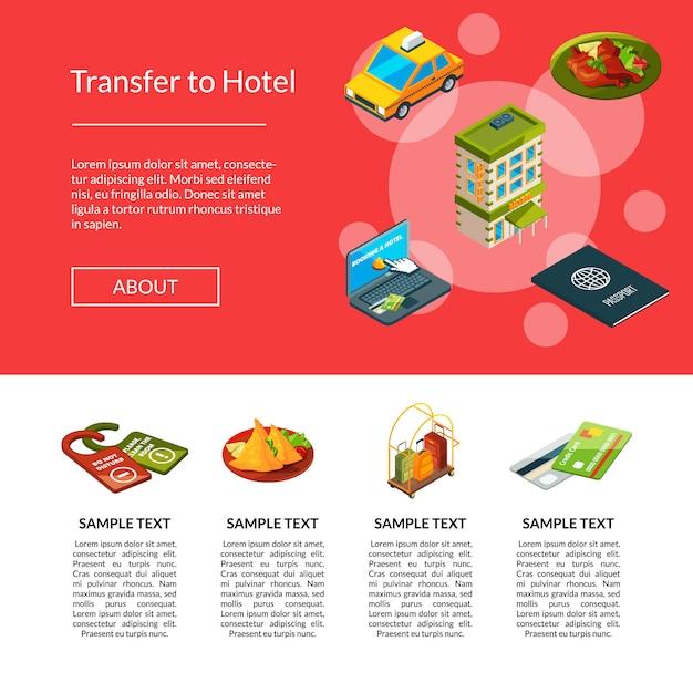 Página de iconos de hotel isométrica