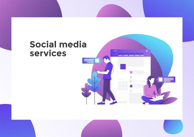 Página de ilustración de servicios de medios sociales
