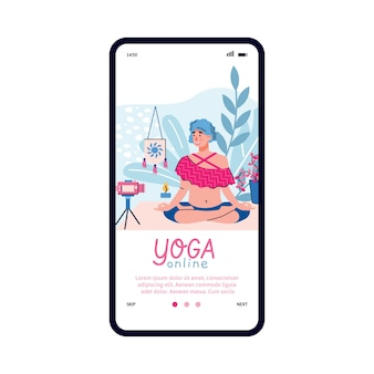 Página de incorporación móvil para entrenamiento de yoga en línea