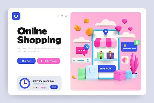 Página de inicio 3d de compras en línea
