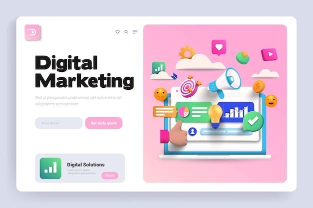 Página de inicio 3d de marketing digital