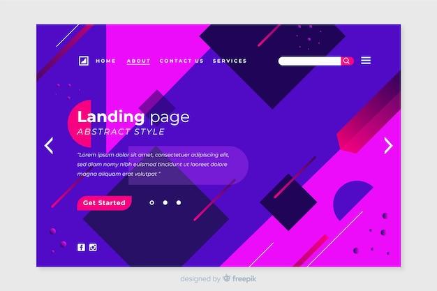 Página de inicio abstracta con formas geométricas