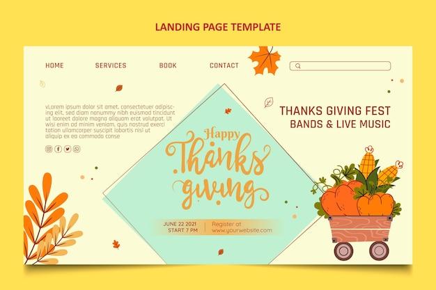 Página de inicio de acción de gracias de diseño plano dibujado a mano