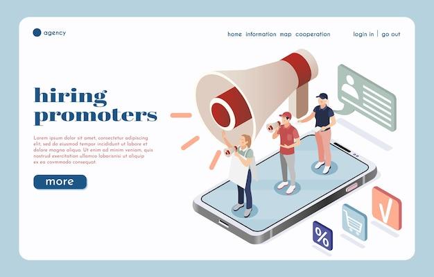 Página de inicio de la agencia de contratación con un gran altavoz y un grupo de promotores callejeros hablando por megáfonos