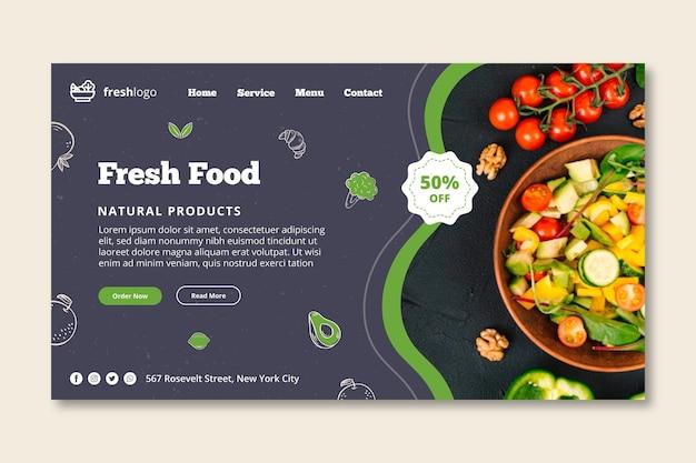 Página de inicio de alimentos bio y saludables con foto