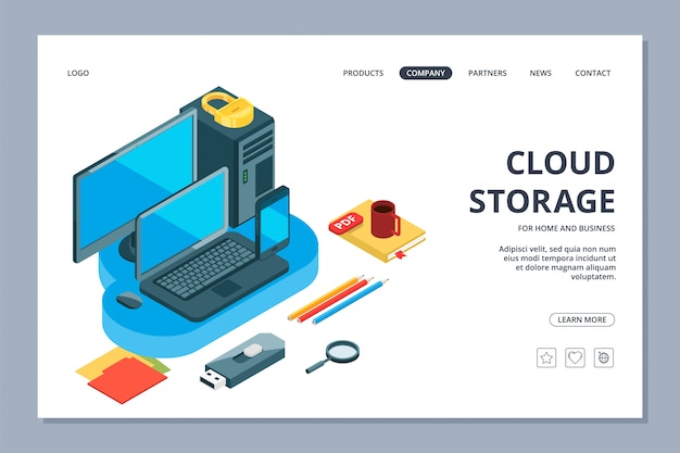 Página de inicio de almacenamiento en la nube. almacenamiento isométrico de información y plantilla de página web de datos