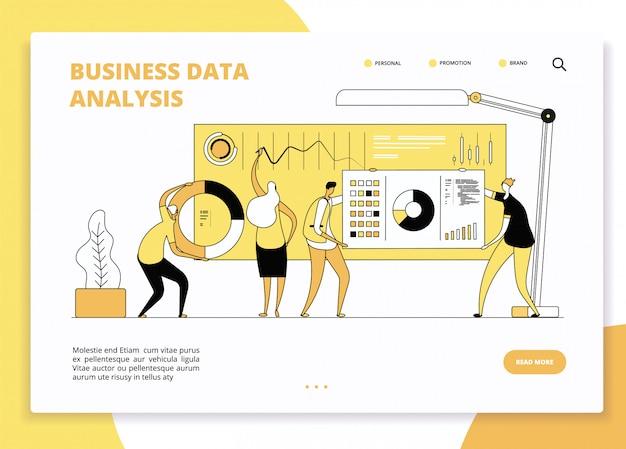 Página de inicio de análisis de datos. analistas de marketing digital que trabajan en el tablero de gráficos estadísticos. diseño de vector de sitio web de marketing empresarial