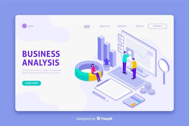 Página de inicio de análisis empresarial en diseño isométrico