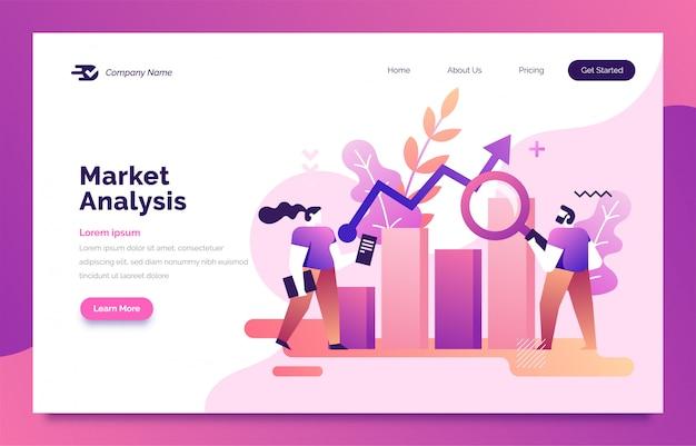 Página de inicio de análisis de mercado para web