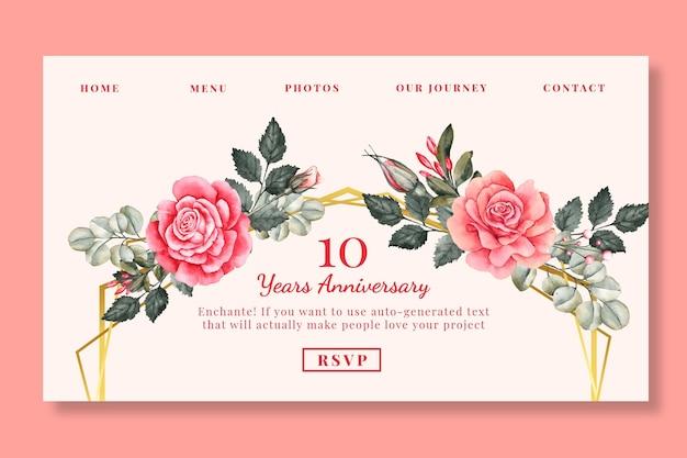 Página de inicio de aniversario de bodas