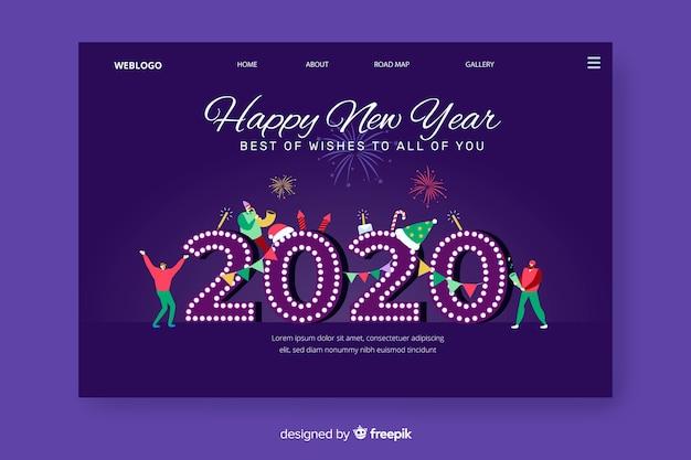 Página de inicio de año nuevo 2020 dibujada a mano