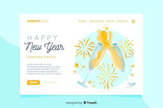 Página de inicio de año nuevo de acuarela