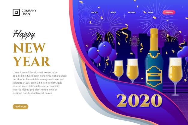 Página de inicio de año nuevo de diseño plano