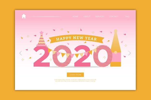 Página de inicio de año nuevo en diseño plano