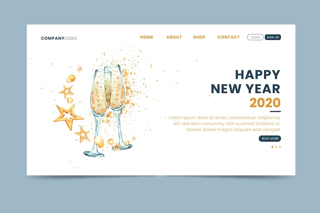 Página de inicio de año nuevo de plantilla de acuarela