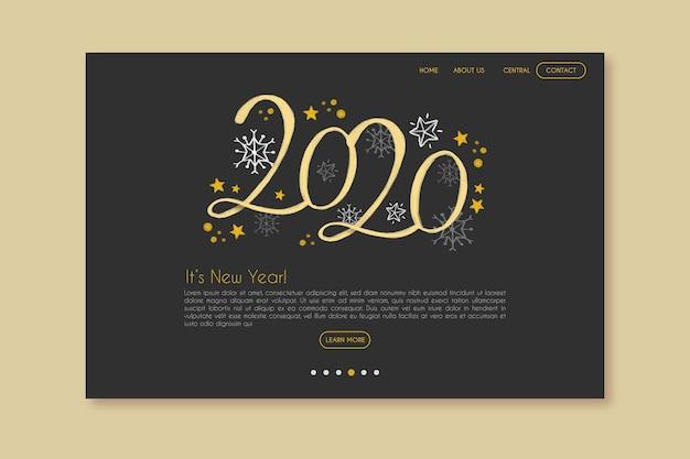 Página de inicio de año nuevo plantilla dibujada a mano