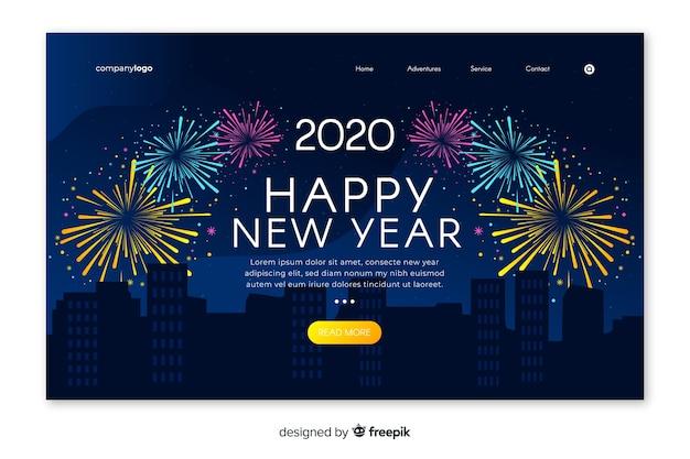 Página de inicio de año nuevo de plantilla de diseño plano
