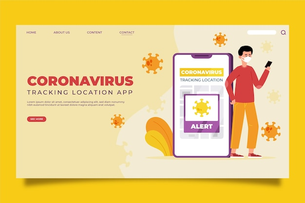 Página de inicio de la aplicación de ubicación de seguimiento de coronavirus