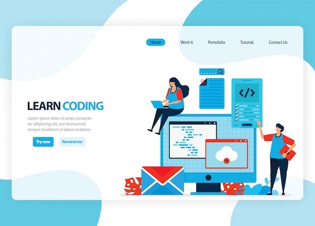 Página de inicio para aprender programación y codificación. desarrollo de aplicaciones con un lenguaje de programación simple. ilustración plana