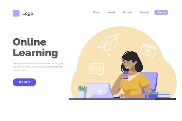 Página de inicio de aprendizaje en línea detallada