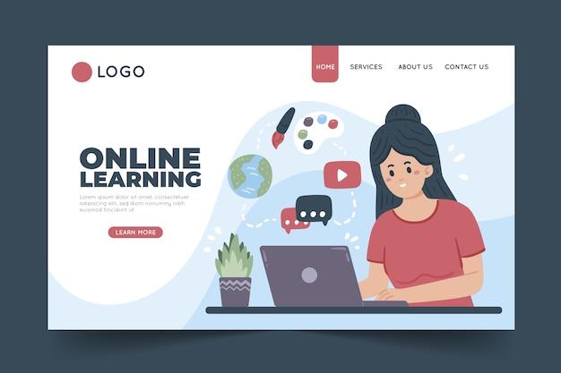 Página de inicio de aprendizaje en línea dibujada a mano