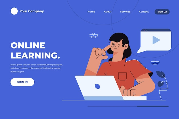 Página de inicio de aprendizaje en línea plana lineal