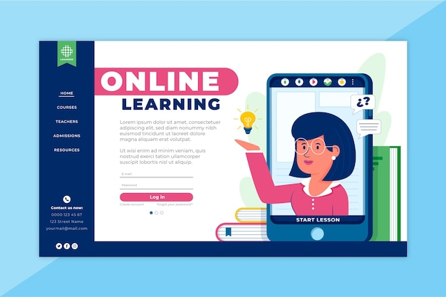 Página de inicio de aprendizaje en línea