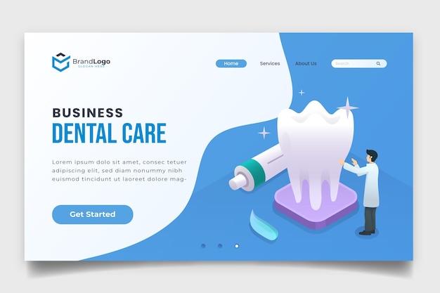 Página de inicio de atención dental empresarial isométrica