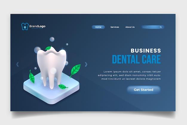 Página de inicio de atención dental empresarial realista