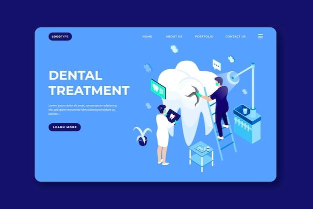 Página de inicio de atención dental isométrica