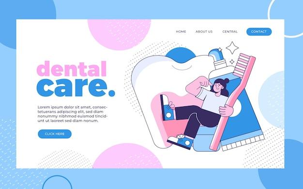 Página de inicio de atención dental plana