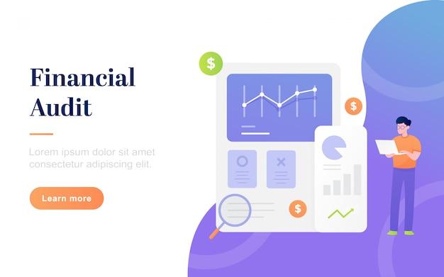 Página de inicio de auditoría financiera plana moderna